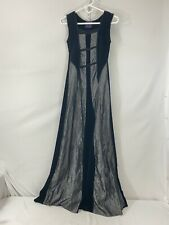 Cykxtees NYC Womens Velvet Gothic Steampunk Maxi Dress Sz S Black Gray