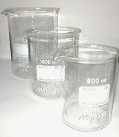Set Beakers 600-1000-2000ml, Borosilicate glass 3.3,low shape with spout,