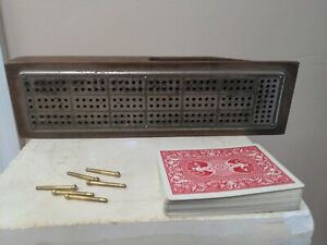 ANTIQUE Cribbage Board, C.W. Le Count, Cast Aluminum and Wood, Patented 1879