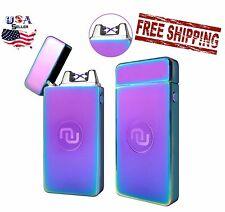 Neon Rainbow Flameless Rechargeable Windproof USB Dual Arc Plasma Lighter