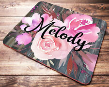 Pink Floral Personalized Custom Name Mouse Pad Office Desk Accessories for Women