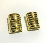 Vintage Givenchy Gold Tone Stack Barrel Clip-On Earrings