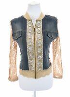 Mesmerize Denim Stretch Lace Full Zip Up Jacket Sequin Embellished Women Sz M