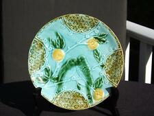 SALINS FRENCH MAJOLICA PLATE LOVE BIRDS WITH LEMONS AQUA & BROWN 7 3/4""