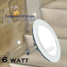 LAMPADA LED LUCE DA MURO ROTONDA PLAFONIERA INCASSO 6W ø 12cm 6500k BIANCA WHITE