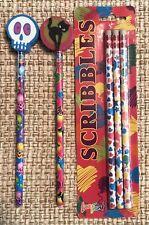 Vintage Lisa Frank SCRIBBLES unopened pack + unused HALLOWEEN pencils & ERASERS