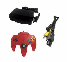 AC Adapter + Red Controller + AV Cable Cord  Bundle for Nintendo 64 N64