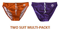 2 Pairs! Orange + Purple Mens Lycra Spandex Swim Briefs - S,M,L,XL -Speedo Style