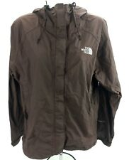 The North Face Women Medium Shell Jacket Rain Coat HyVent DT Lined Brown Hood AP