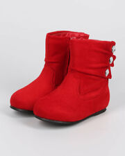 New Girl Little Angel Ice-788D Suede Round Toe Pleated Jewel Riding Boot Size