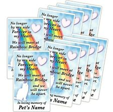 10 Cat Personalized Rainbow Bridge Poem STICKERS Memorial Pet Loss Gift Kitty