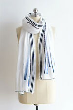 Womens Oblong Lightwieght Cotton Scarf Hand Painted Scarf Striped Black White
