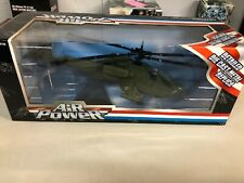 TOY ZONE AIR POWER DIE-CAST AH-64 APACHE HELICOPTER, NRFB Military Series Replic