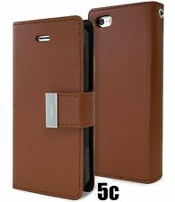 for iPhone 5C - BROWN Leather Case Magnetic Multi Cards Wallet Pouch Folio Cover