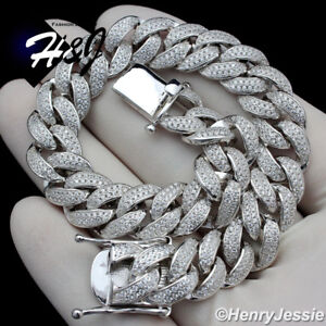 "7.5""MEN 925 STERLING SILVER 12MM ICY DIAMOND MIAMI CUBAN CHAIN BRACELET*SB12"