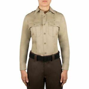 Women's ~BLAUER 8900W Silver-Tan Long Sleeve Rayon Uniform Shirt~ Size 32 Reg.