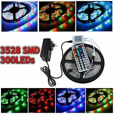 5M 3528 SMD RGB 300 LED Xmas Tree Strip Light Kit Non waterproof+Remote+2A Power
