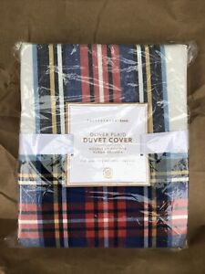 New NIPPottery Barn Teen Oliver Plaid Full Queen Duvet Cover Bedding Blue Red