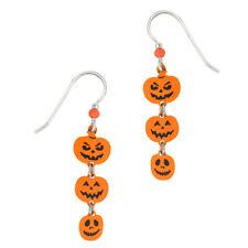 Sienna Sky Jack-o-Lantern Pumpkin Trio Dangle Pierced Earrings Orange & Black