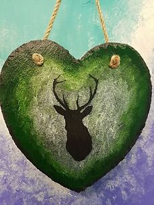 hunting stag painting painted slate heart countryside