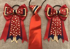 childs equestrian showing set - show tie and bows In RED Navy & GOLD Stars