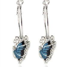 Fashion Blue Crystal Rhinestone Enamel Butterfly Dangle Hoop Earrings Jewelry