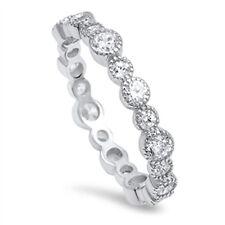 AAA Grade Cubic Zirconia CZ 925 Sterling Silver Bubble Jazz Style Eternity Ring