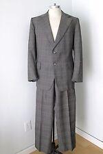 VGC Vtg 70s Gray Red Gold Checker Plaid 2-Pc Pants Blazer Disco Pimp Suit 44