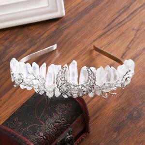 Natural Quartz Crystal Headband Crown Bridal Jeweled Tiara Wedding Hairband Prom