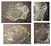 ViINTAGE Federal PIONEER Clear Glass Embossed Fruit Bowl Crimped Ruffle Sawtooth