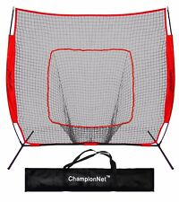ChampionNet 7'x7' Baseball/Softball Training Hitting Net & Frame - RED