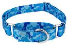 Country Brook Petz® Blue Bone Camo Martingale Dog Collar