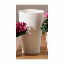Cylindrical Large Vase, White Polyresin, For Bedroom, Dining Room or Living