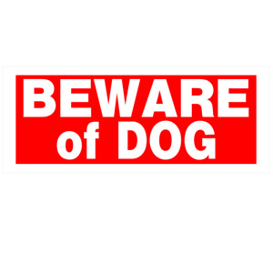 """Hillman 841794 Red & White Beware Of Dog Sign - 15"""" X 6"""""""