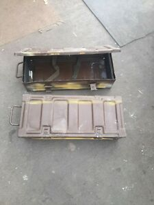 AMMUNITION BOXES ARMY / M O D .(pair) 105mm Shell Boxes Galvenised uk made VGC,