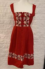 Vtg Licht Trachtenhaus German Octoberfest Folk Dress Size 12 Red Embroidered A8