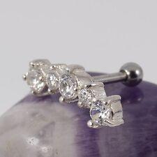 Helix Cartilage Bar Upper Ear 925 Sterling Silver Motif Clear Crystal 1.2 x 6mm