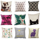Home Decor Vintage Pattern Square Linen Throw Pillow Case Linen Cushion Cover