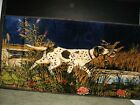 """Velvet Wall Tapestry hunting bird dog approx.19"""" tall x 38"""" wide - great colors"""