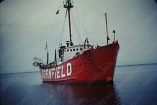 1940s fishing ship in harbor kodak red border  35mm slide Wn10