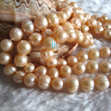 "Pearl Necklace Strands Jewelry 52"" 6-8mm Peach Pink Freshwater"