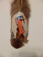 TURKEY HEAD-Hand painted rare turkey feather, by artist W. W. Hoffert