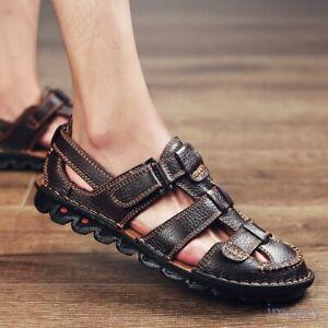 Buckle Leather Men's Closed Toe Beach Sandals Flats Roman Casual Shoes Plus Size