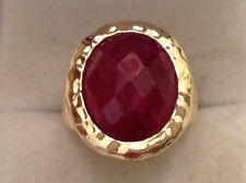 Checkerboard Large Faceted Genuine Ruby Ring Gold / Sterling Silver Size 6