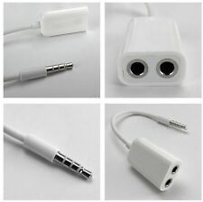 3.5mm 1 to 2 Earphone Headset Audio Spliter Adapter Cable For iPhone 4S/5S/6 a