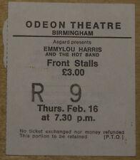 EMMYLOU HARRIS ~RARE ORIGINAL USED TICKET 2~ BIRMINGHAM ODEON ~ FEBRUARY 16 1978