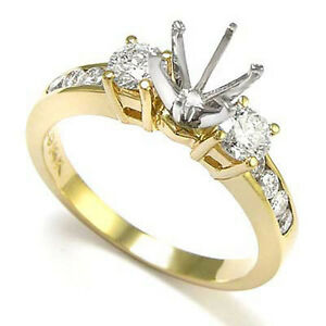 14K Two Tone Gold .60ct Diamond Engagement Ring Setting FREE Shipping #R1083