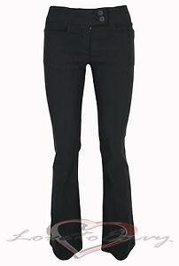 LADIES GIRLS BLACK SCHOOL WORK OFFICE BLACK BOOTLEG TROUSERS S6-14 3 LEG LENGTHS