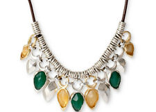 NEW $68 Robert Lee Morris SOHO Yellow Green Drop Molten Two-Tone  Long Necklace