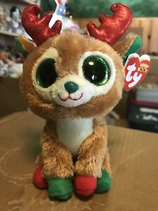 """Ty ALPINE -Tan/Red/Green Holiday Reindeer 6"""" Beanie Boo *Retired Exclusive* RARE"""